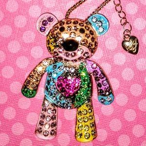 Betsey Johnson Crystal  Teddy Bear Necklace